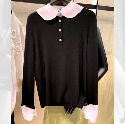 CHANEL ICON Casual Style Wool Long Sleeves Plain Cotton Medium