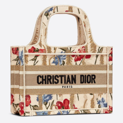 Christian Dior BOOK TOTE Flower Patterns Casual Style Party Style Office Style