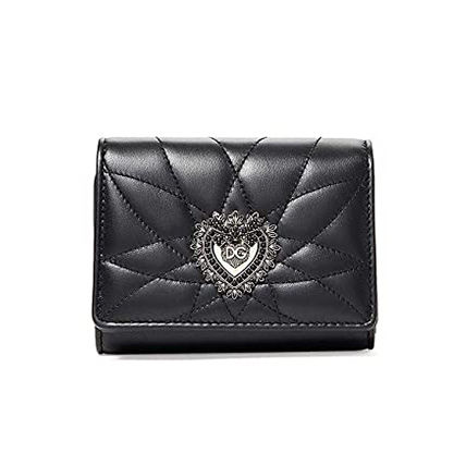 Heart Calfskin Lambskin Leather Folding Wallet Logo