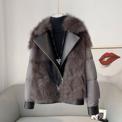 Stand Collar Coats Short Casual Style Wool Suede Fur