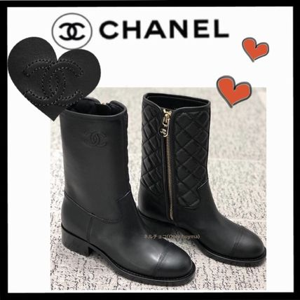 CHANEL ICON Casual Style Plain Leather Block Heels Flat Boots