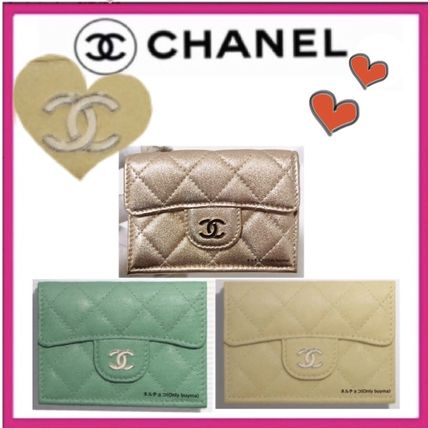 CHANEL MATELASSE Unisex Calfskin Lambskin Plain Small Wallet Folding Wallets