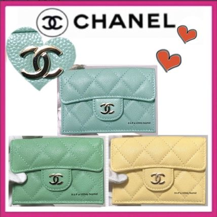 CHANEL MATELASSE Small Wallet Unisex Calfskin Lambskin Plain Folding Wallets