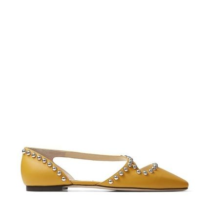 Jimmy Choo Studded Plain Leather Party Style Elegant Style Logo Flats