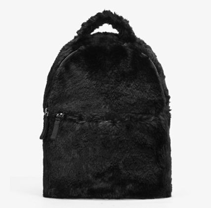 Casual Style Unisex Faux Fur Plain Backpacks
