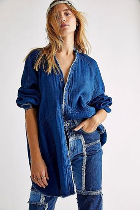 Casual Style Denim Street Style Cropped Long Sleeves Plain