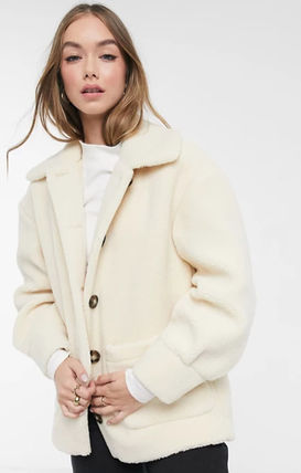 Casual Style Plain Oversized Shearling Jackets