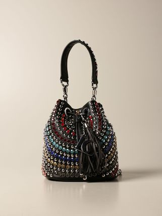 Casual Style Blended Fabrics Studded 2WAY Chain Plain Purses