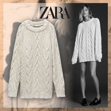 ZARA Crew Neck Cable Knit Casual Style Nylon Long Sleeves Plain