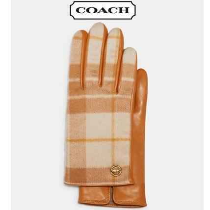 Coach Leather Logo Leather & Faux Leather Gloves