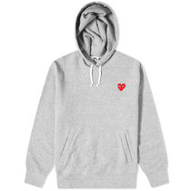 PLAY COMME des GARCONS Pullovers Heart Long Sleeves Plain Cotton Logo Hoodies