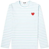 PLAY COMME des GARCONS Crew Neck Pullovers Stripes Heart Street Style Long Sleeves