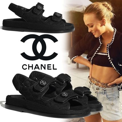 CHANEL Open Toe Casual Style Plain Footbed Sandals Logo