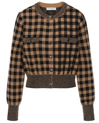 Other Plaid Patterns Casual Style Wool Long Sleeves