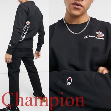 CHAMPION Sweatshirts Crew Neck Street Style Collaboration Long Sleeves Plain