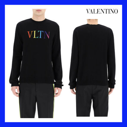 VALENTINO Sweaters Crew Neck Wool Cashmere Street Style Long Sleeves Logo