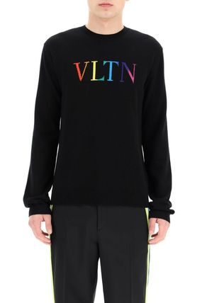 VALENTINO Sweaters Crew Neck Wool Cashmere Street Style Long Sleeves Logo 3