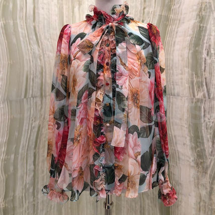 Dolce & Gabbana Flower Patterns Casual Style Silk Long Sleeves Medium
