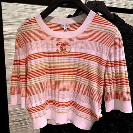 CHANEL ICON Crew Neck Stripes Casual Style Cashmere Silk Linen Cropped