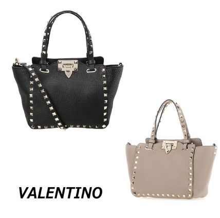 VALENTINO Plain Leather Totes
