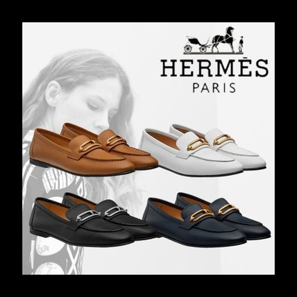 HERMES Rubber Sole Casual Style Plain Leather Party Style