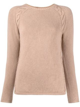 Cable Knit Cashmere Street Style U-Neck Long Sleeves Plain