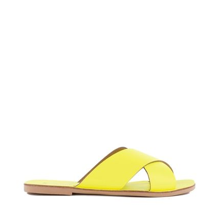 Open Toe Square Toe Casual Style Plain Leather Street Style
