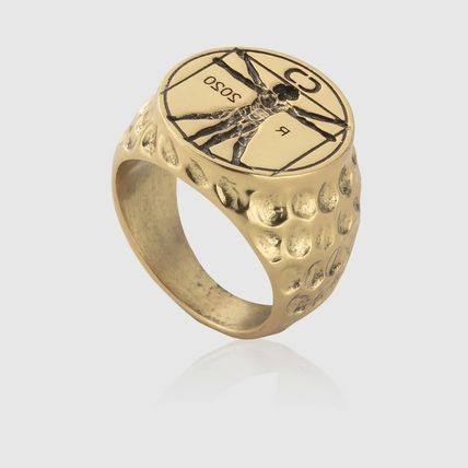 Street Style 18K Gold Stainless Rings