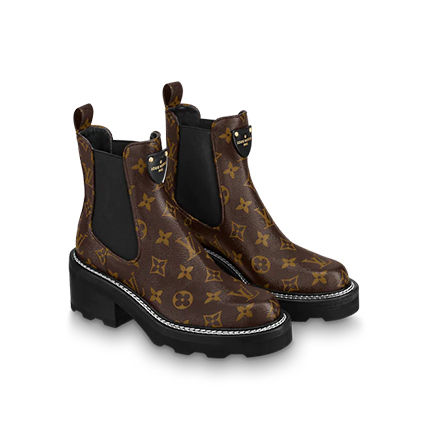 Louis Vuitton Monogram Casual Style Street Style Leather Chunky Heels Logo