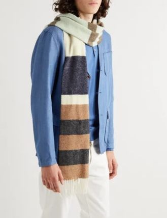 Stripes Wool Plain Lightweight Scarves & Shawls