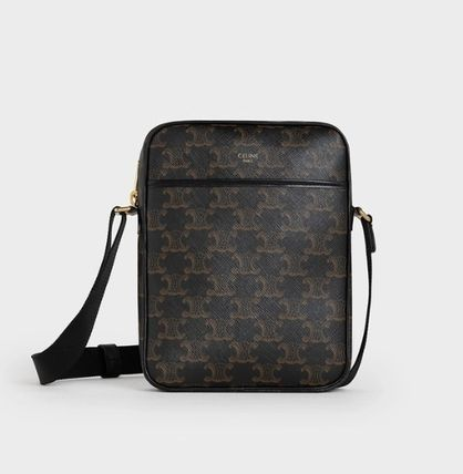 CELINE Triomphe Canvas Vertical Messenger Bag In Triomphe Canvas And Calfskin