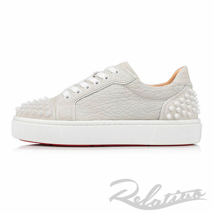 Christian Louboutin Round Toe Rubber Sole Lace-up Casual Style Studded