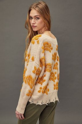 Anthropologie Flower Patterns Casual Style Long Sleeves Medium