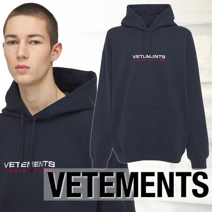 VETEMENTS Hoodies Street Style Long Sleeves Cotton Oversized Logo Hoodies