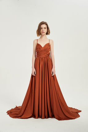 Sleeveless Plain Long Dark Brown Bridal Wedding Dresses