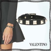 VALENTINO Casual Style Studded Street Style Leather Party Style