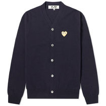 PLAY COMME des GARCONS Heart Wool Street Style Logo Cardigans