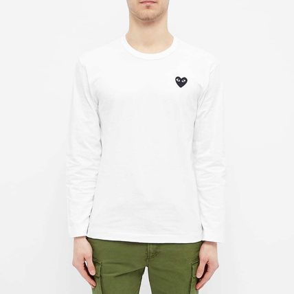 Crew Neck Pullovers Heart Street Style Long Sleeves Cotton