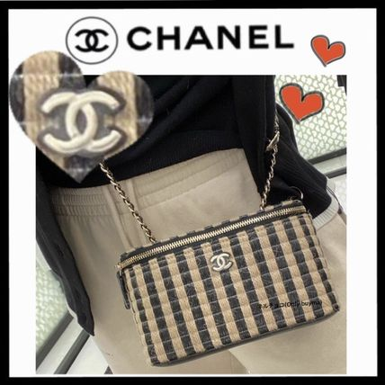 CHANEL ICON Stripes Casual Style Vanity Bags Bi-color Chain