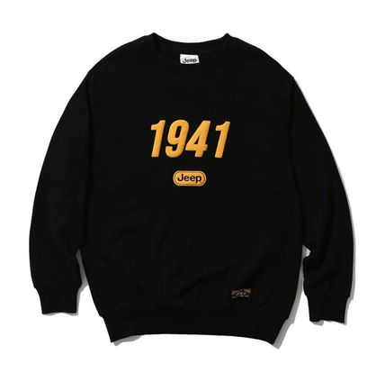 JEEP Unisex Sweat Street Style Long Sleeves Cotton Logo