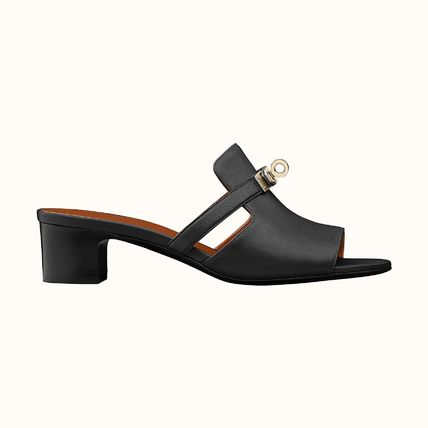 HERMES Open Toe Casual Style Leather Block Heels Mules Sandals