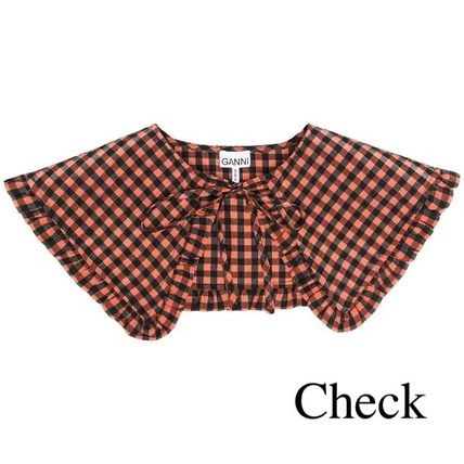 Ganni Gingham Casual Style Plain Collars