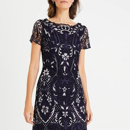Flower Patterns Casual Style Medium Short Sleeves Lace