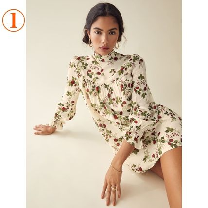 Short Flower Patterns Casual Style Flared Long Sleeves