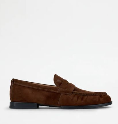 TOD'S Moccasin Loafers Suede Street Style Plain Leather Logo