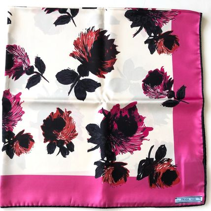PRADA Flower Patterns Casual Style Silk Bi-color Party Style