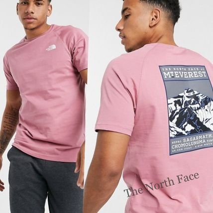 THE NORTH FACE Crew Neck Crew Neck Plain Cotton Short Sleeves Logo Outdoor