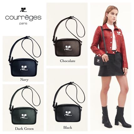Plain Leather Elegant Style Logo Shoulder Bags