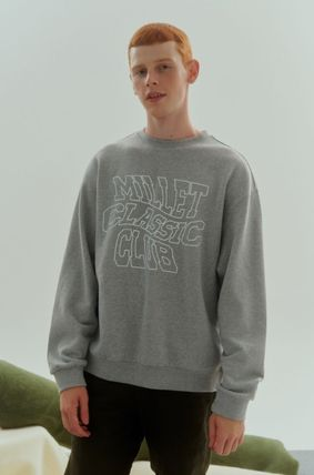Logo Unisex Sweat Cotton Long Street Style