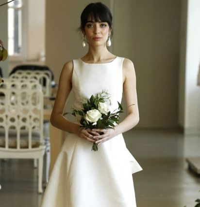 Crew Neck Sleeveless Flared Plain Long Bridal